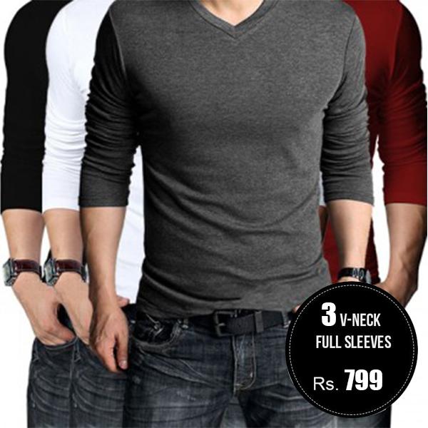 01cb9ab2 Pack of 3 - V-Neck Full Sleeves T Shirts - GetIt.pk