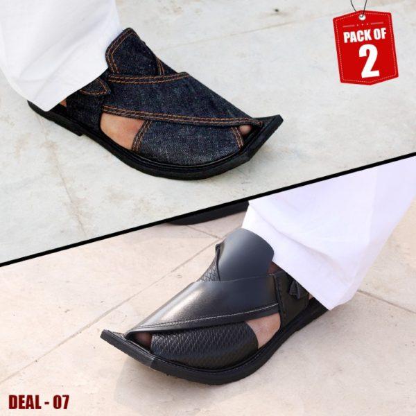 DEAL-07-peshawari-sandal-charsadda-chappal-kheri-deal-buy-1-get-1-free-pure leather-getitpk