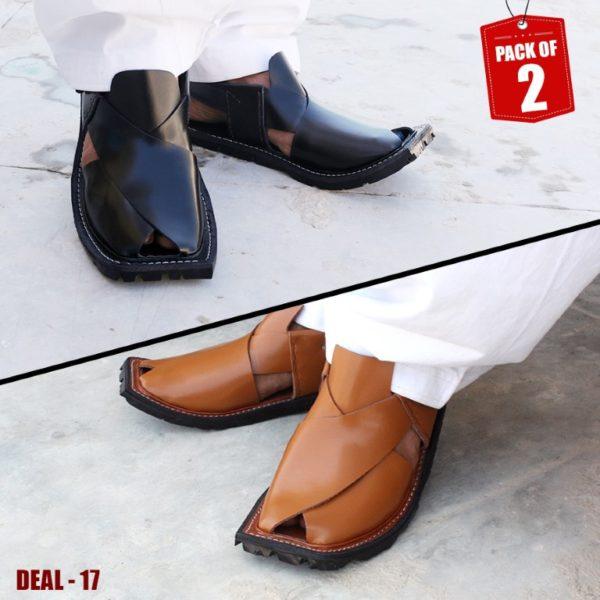 DEAL-17-peshawari-sandal-charsadda-chappal-kheri-deal-buy-1-get-1-free-pure leather-getitpk